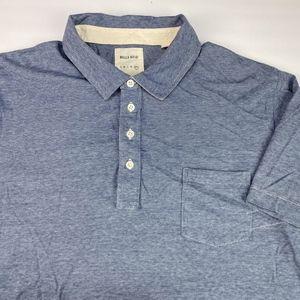 Billy Reid Men's Short Sleeve Polo Size XXL Blue